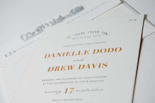 Gold foil wedding invitiations