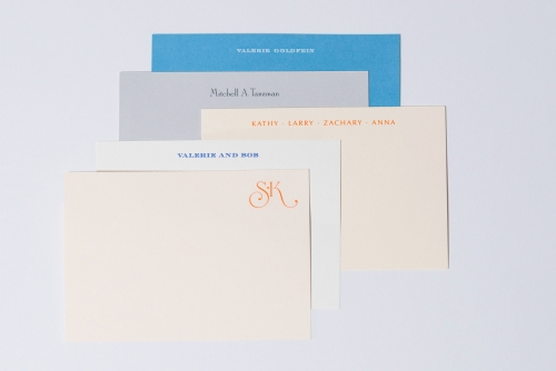Engraved note cards