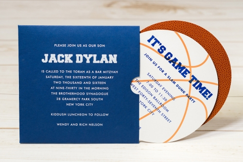sports theme bar mitzvah EAF fine papers