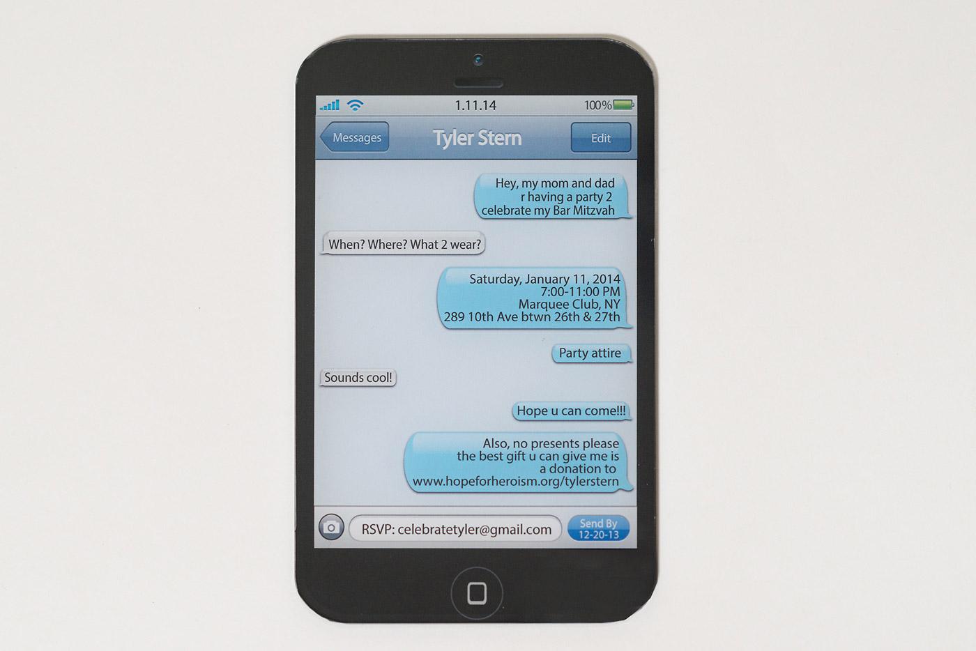 iPhone theme bar mitzvah invite