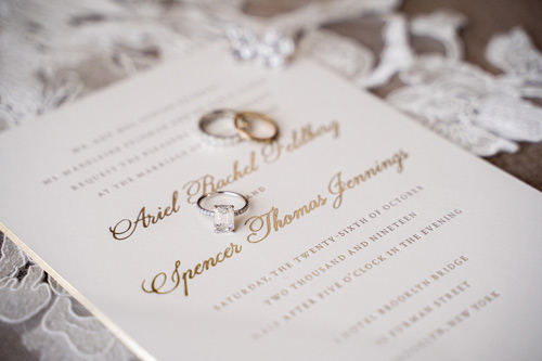 ariel and spencer wedding custom gold invitation and rings