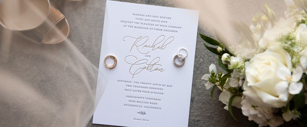 rachel and colton wedding invitation and rings