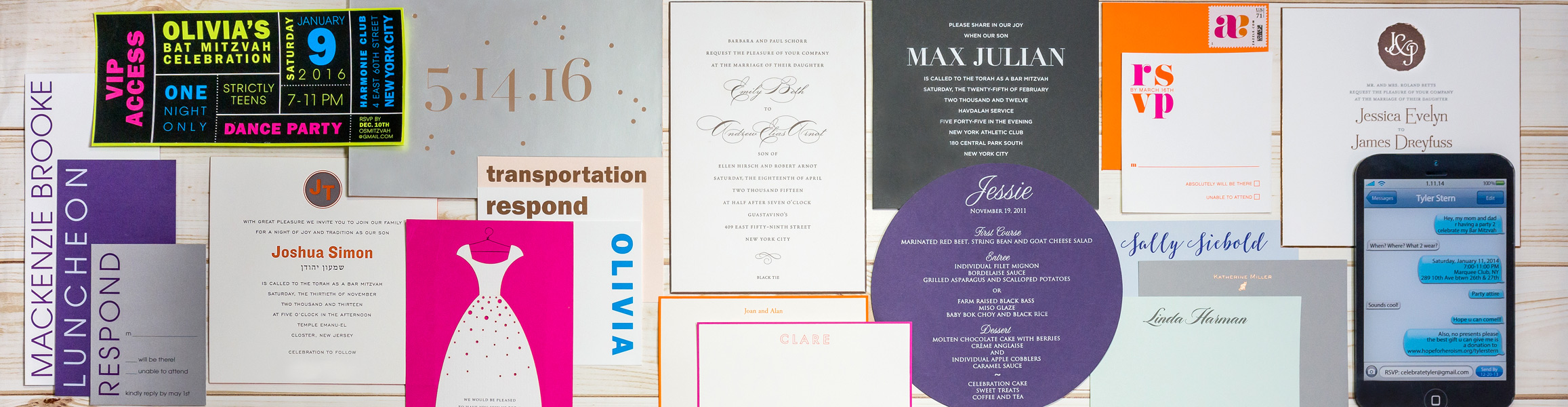Weddings, Birthdays, Bat/Bar Mitzvahs, Anniversaries - made memorable with personalized invitations and favors